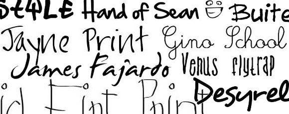 Collection of 40 Free Handwritten Fonts