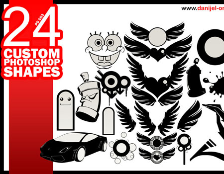 24 Custom Photoshop Shapes by danijeL-one