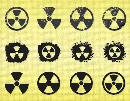 12 Grunge Radiation Symbol Vector Shapes by Shapes4FREE