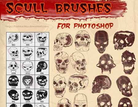 18 Vector Skulls Brushes