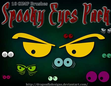 10 Spooky Eyes GIMP Brush Pack