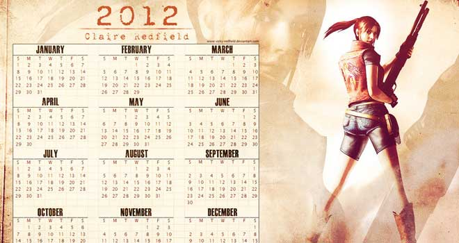 Claire Redfield Desktop Calendar 2012