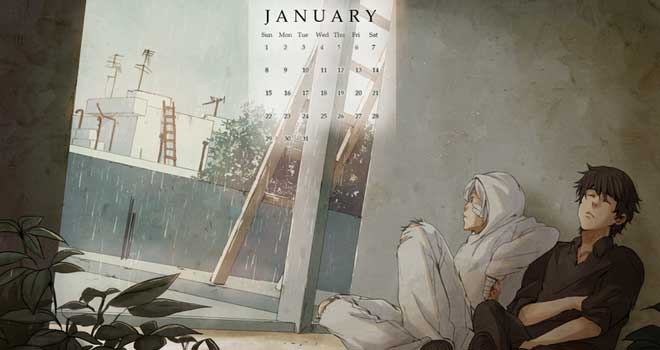 Grey January 2012 Calendar Wallpaper