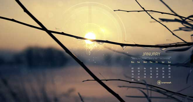 January Desktop Calendar 2012
