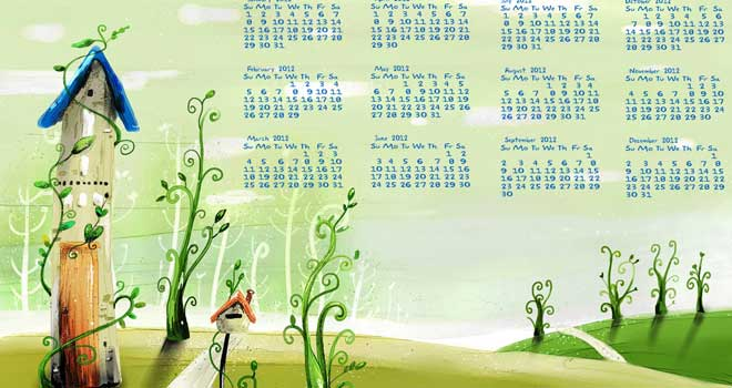 Cartoon Calendar 2012 Wallpaper