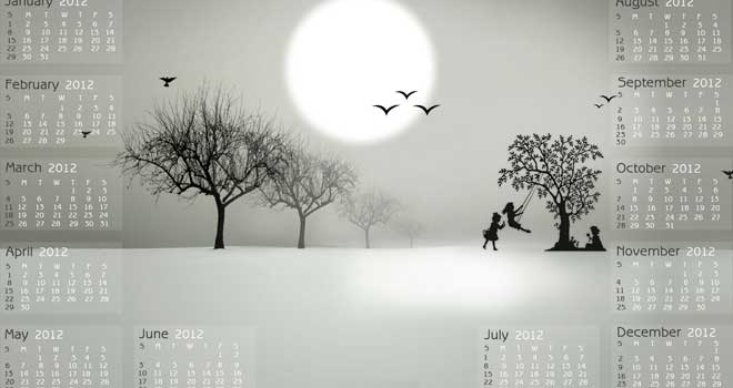 2012 New Year Wallpaper Calendar