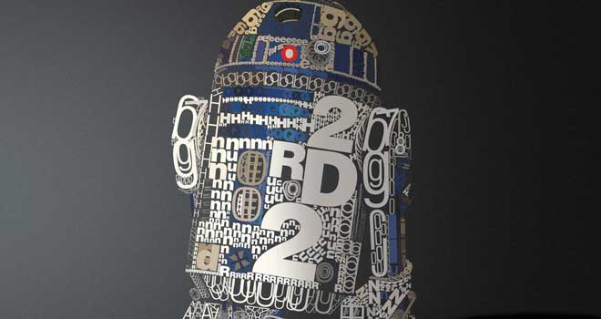 R2D2 in Helvetica by David Benoliel