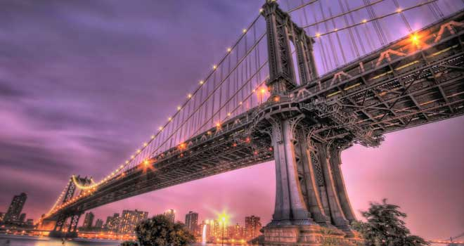 Manhattan Bridge At Dusk by Dave Noonan