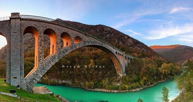 Dream Bridge, Solkan Bridge, Soca River, Slovenia by Erik Simonic