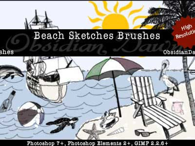 Beach Sketches Brushes by redheadstock
