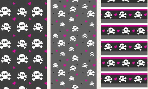 PS Patterns - Skulls and Hearts by ashzstock