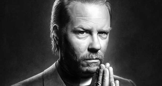 Father James - James Hetfield Painting by Kamyar Nasirifar
