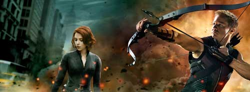 Avengers FB Cover Black Widow and HawkEye by ScarletSpiders47