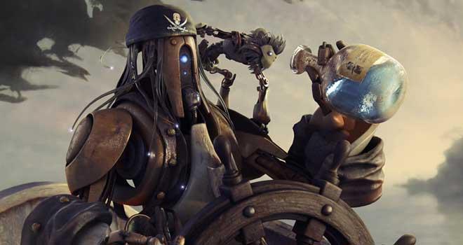 Pirate Robot - Illustration by Angel Gabriel Diaz Romero