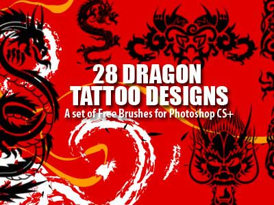 27 Dragon Tattoo Designs as Photoshop Brushes by photoshopfreebrushes