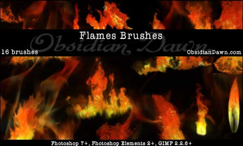 16 Flames Fire Photoshop Brushes by redheadstock