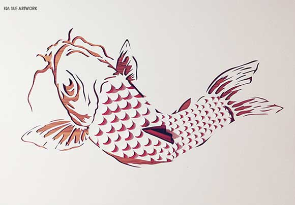 Koi Paper art by Kia Sue
