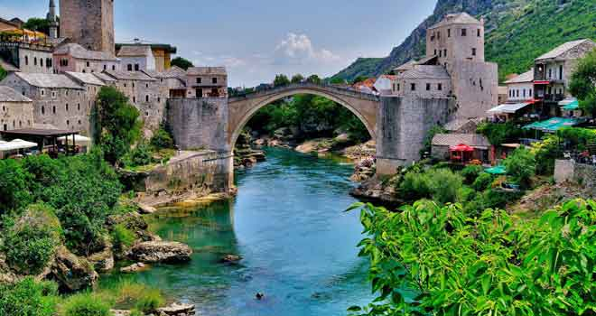 Mostar's Old Bridge, River Neretva by Lech Magnuszewski